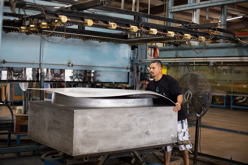 Bathtubs are vacume formed before fiverglass is applied at Jetta Corporation located at 425 Centinnial Blvd in Edmond, OK.