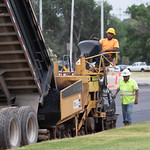 New asphault being laid at the Oklahoma State Fairgrounds in Oklahoma City.