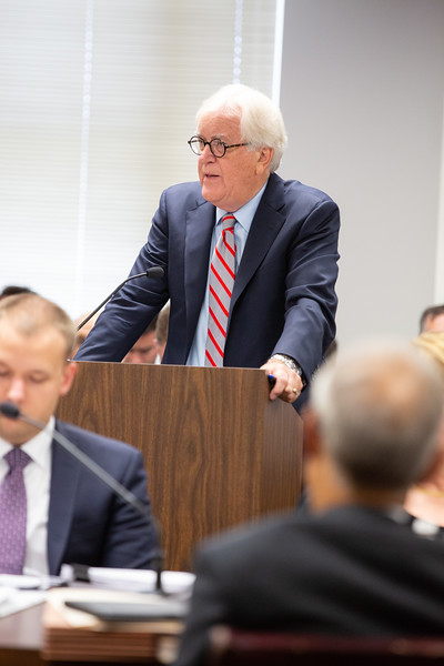 Attorney Eric King speaking on behalf of Bixby land owners who wish to intervien in PSO's Wind Catcher case being considered at the Oklahoma Corporation Commision.