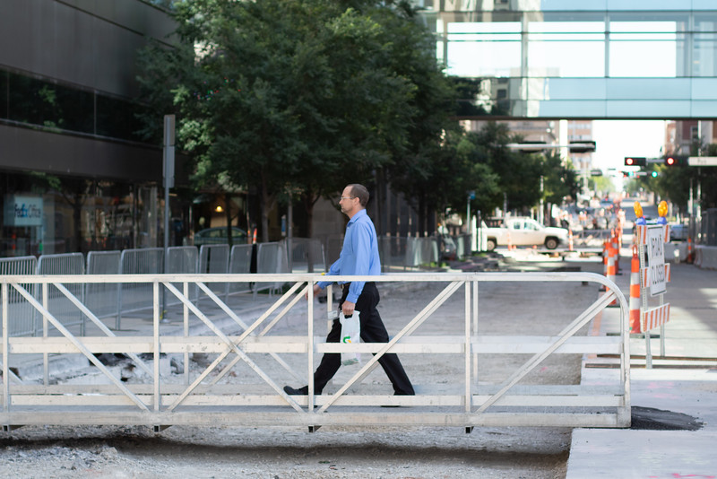A temporary walkway has been installed at Main St and Robinson Ave in downtown Oklahoma City while construction for the new street car system in under way.