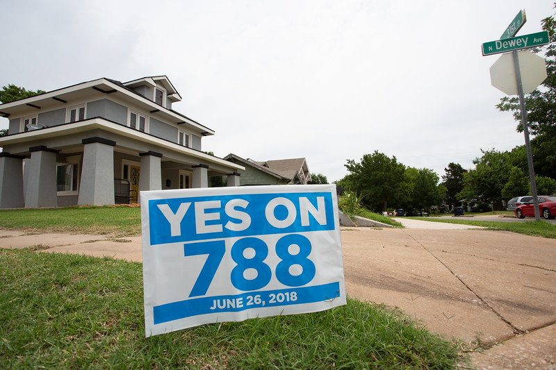 A sign supporting state question 788 in a yard on Dewey and NW 31st Street in Oklahoma City.