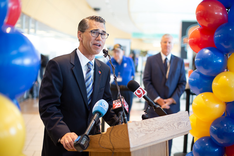 Juan Suarez, Managing Director with Southwest Airlines, announces non-stop flights from Oklahoma City to Reagan International Airport in Washington DC.