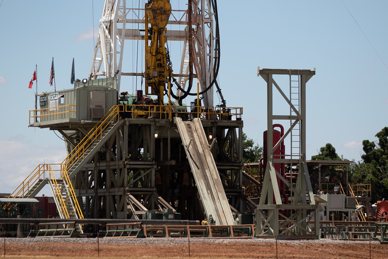 A Cactus drilling rig located at Reno Ave and Cimmeron Road in Yukon, OK.