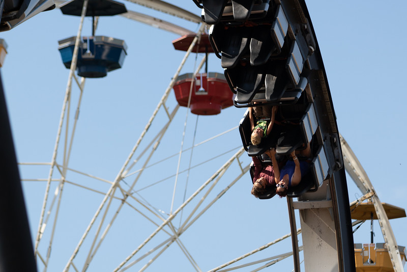 Riders loop upside down on a roller coster in Frontier City Theme Park in Oklahoma City.