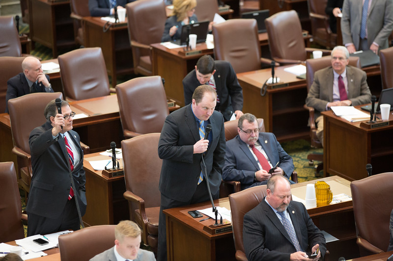 Rep Jon Echols on the floor of the Oklahoma State House of Repersenitives.