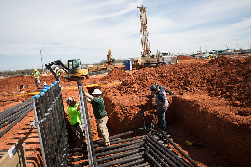 Comfort Works Solutions is installing a ninty well geothermal sustem at 122nd Street and Western Ave in Oklahoma City, OK.