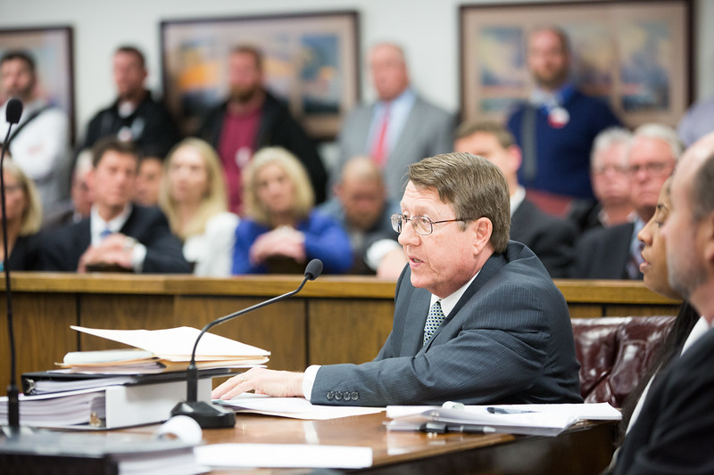 Jack Fite, attorny for Public Services of Oklahoma, began opening arguments to move the company's Windcatcher wind farm forward after Oklahoma State Attorny general Mike Hunter opposed the project due to the company not complying with state bidding regulations.