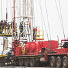 A workover rig on a well site located at NW 23rd Street and Cimmeron Road in Yukon, OK.