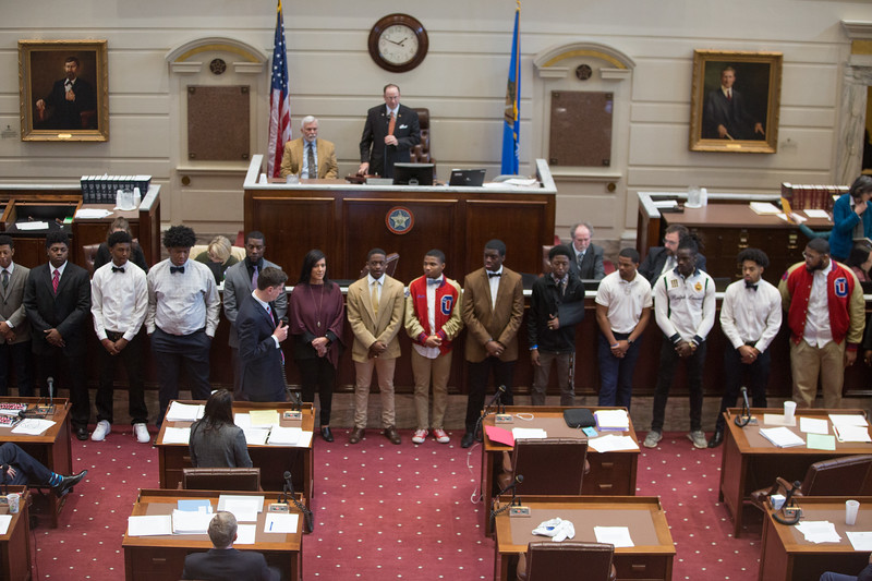 Senator David Holt introduced the John Marshal High School football team and their coach Rashaun Woods to the Oklahoma State Senate. Coach Woods is a former Oklahoma State University wide reciever and played proffesionally before taking the head coaching job at the high school. This seasonthe team won their first championship game since 1995.