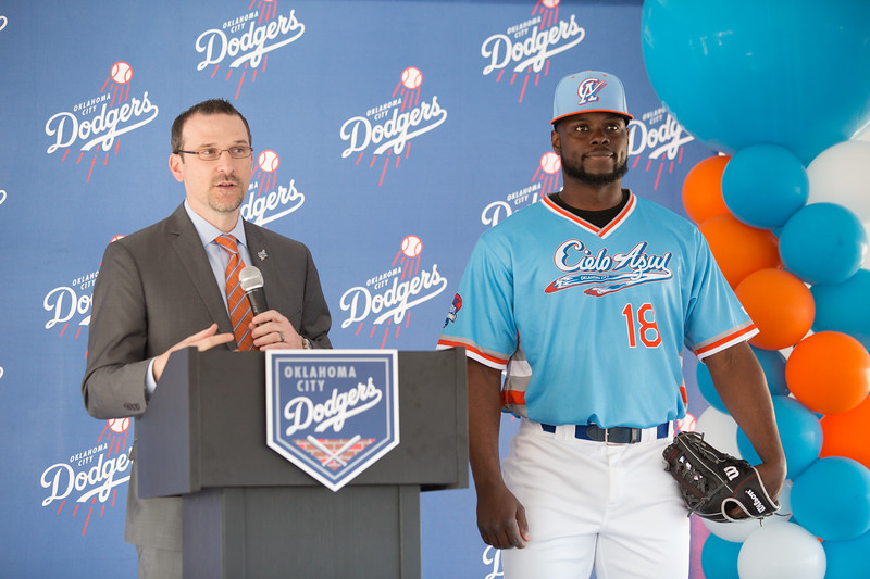 President and General Manager of the Oklahoma City Dodgers unvieled a new uniform to be worn during eight of the regular season. The Dodgers are participating in a nation wide campaign for minor league baseball to engage with the Hispanic community in their respective hometowns.