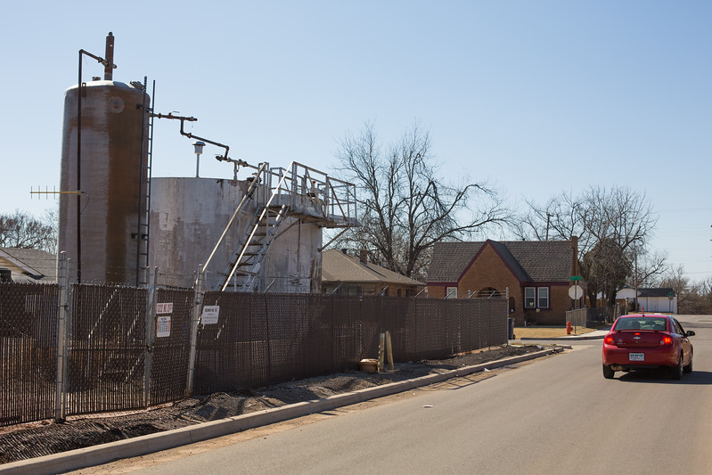 Oil storage tanks in a residential neihborhood located at 1322 NE 21 Street in Oklahoma City.