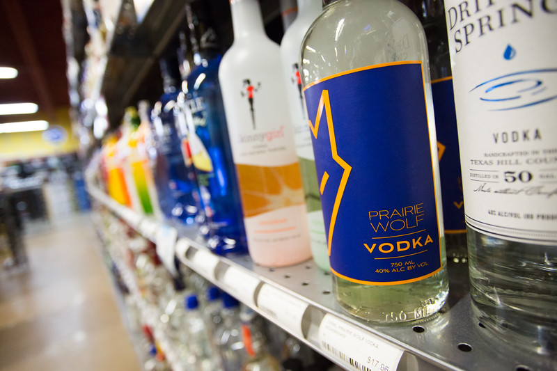 Praire Wolf Vodka on the shelf at Drew's Wine and Spirits located at 209 Meline Drive in Edmond, OK.