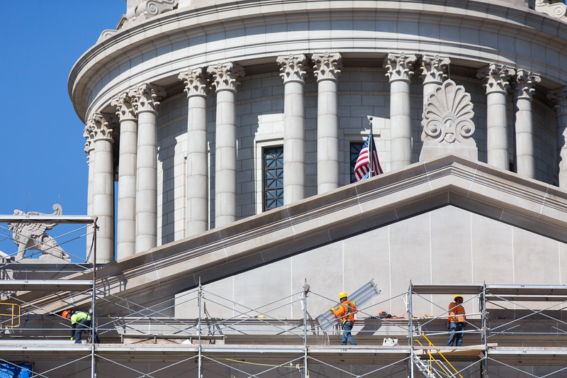 Crews have begun removing scaffolding from the southside of the Oklahoma State Capitol located in Oklahoma City.