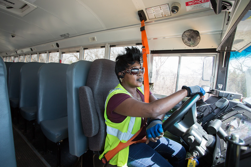 Roxanne Parker prepares to take her school bus out for the afternoon route in Oklahoma City.