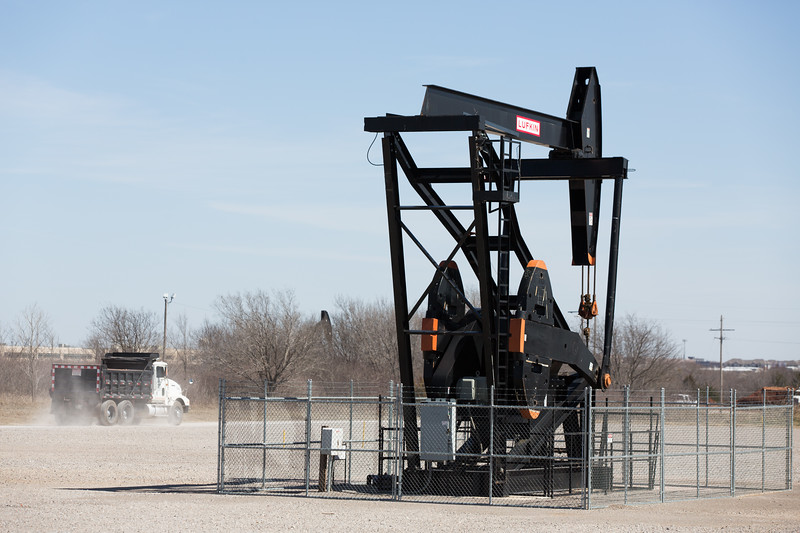 Pump jacks operating at Bryant Ave and I-240 in Oklahoma City, OK.