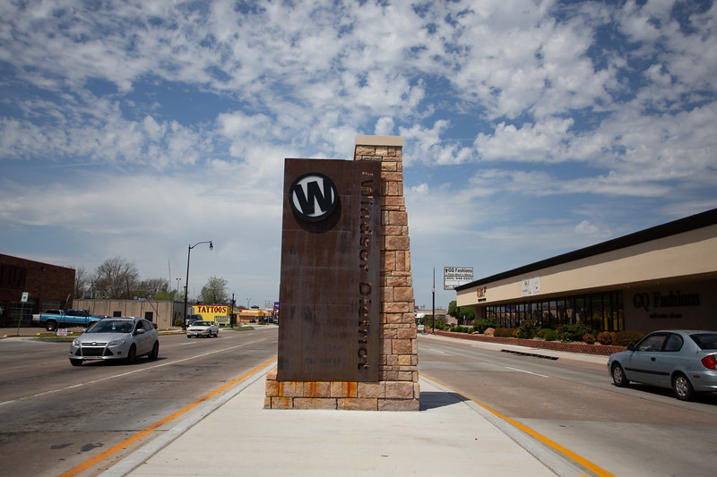 A newly installed marker for the Windsor District at NW 23rd Street and I-35 in Oklahoma City.