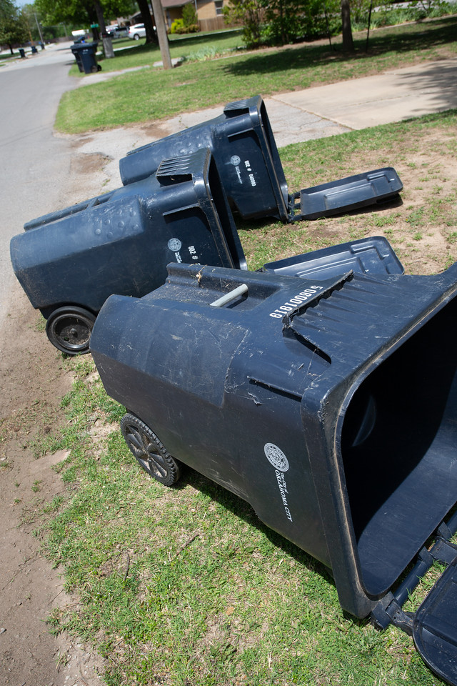 Trash cans that have fallen over on Memory Ln. in northwest Oklahoma City.