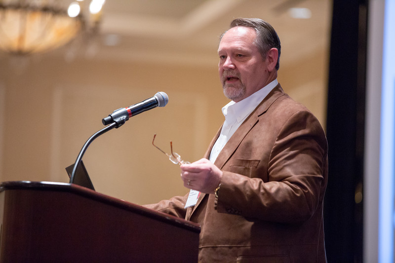 Attorny Terry Stowers speaking to the National Association of Royalty Owners convention held at the Skirvin Hotel in Oklahoma City.