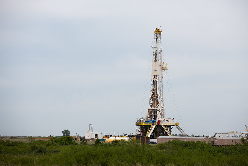A drilling rig operating in the SCOOP formation just outside Blanchard, OK.