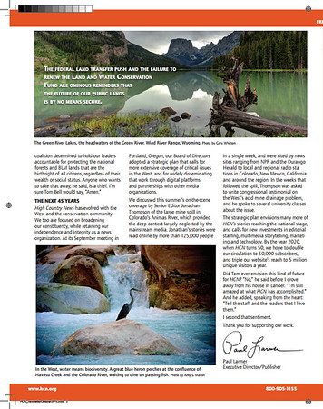 Fall 2015 - Friends of High Country News Newsletter