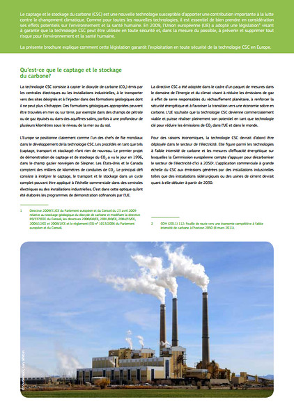European Commission Fact Sheet - On Carbon Capture and Storage