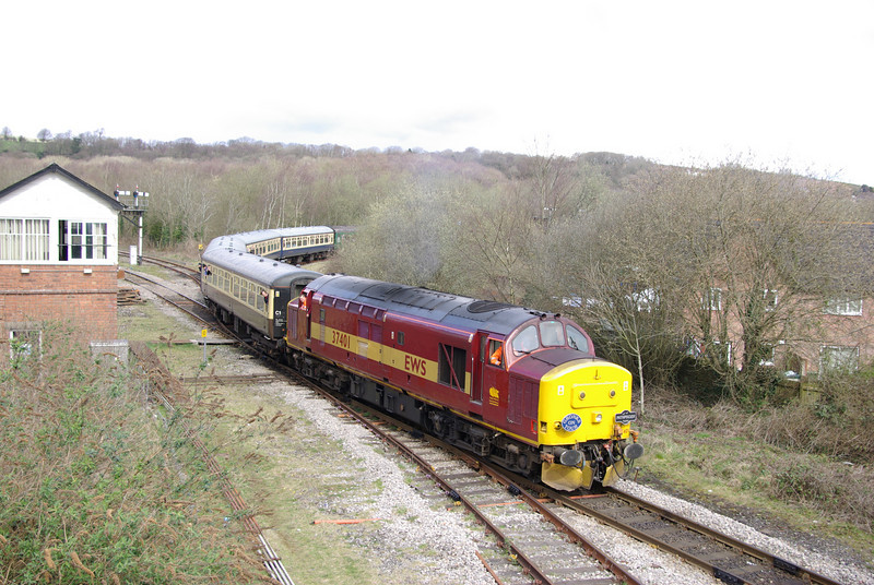 """Published in Rail Magazine. 37401 returns to Tondu after reversing on the former Blaengarw branch with Pathfinder Railtours """"Cwm and Gone"""" railtour 28/03/09"""
