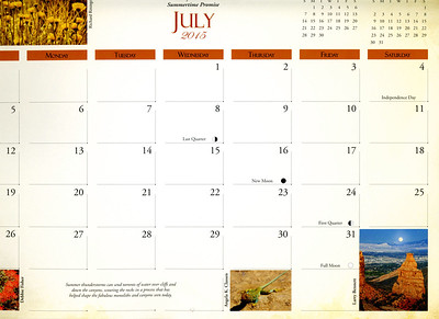 Grid photo,  July 2015, Colorado National Monument Association calendar