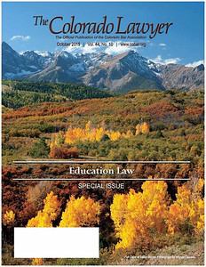 Cover photo, The Colorado Lawyer (official publication of the Colorado Bar Association), October 2015