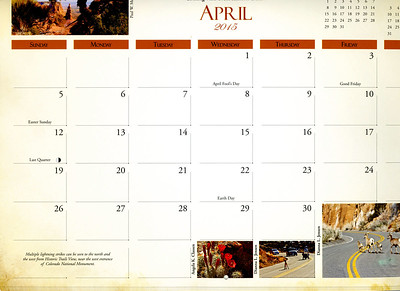 Grid photo, April 2015, Colorado National Monument Association calendar