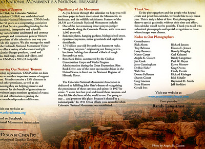 Inside cover overlay,  2015 Colorado National Monument Association calendar