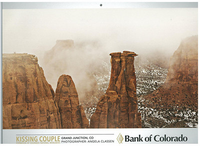 Foggy Kissing Couple as it appeared in 2014 Bank of Colorado calendar