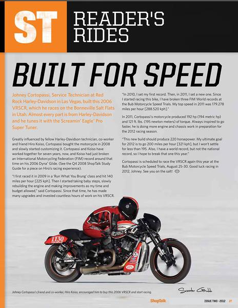 Harley Davidson Magazine. Image of Johney Cortopossi on the Salt. Summer '12.