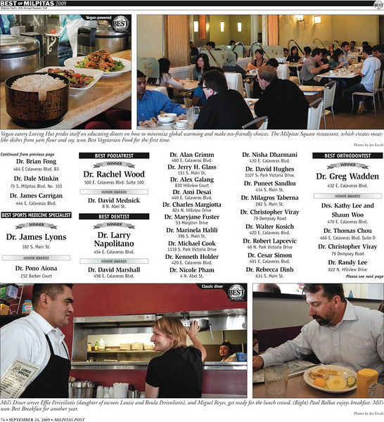 <strong>Milpitas Post Top 100 Issue - (Top)Loving Hut: Best Vegetarian Food. (Bottom) Mil's Diner: Best Breakfast</strong>