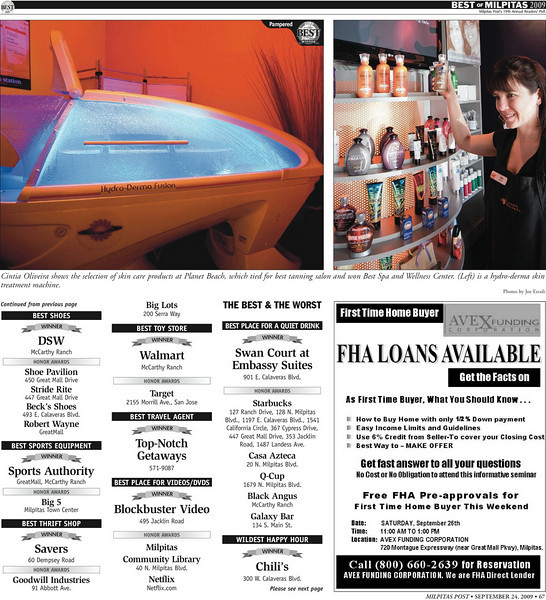 <strong>Milpitas Post Top 100 Issue - Planet Beach: Best Spa and Wellness Center</strong>