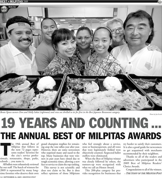 <strong>Lead Photo in the Milpitas Post Top 100 Issue - Bento Express</strong>