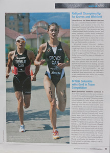 This shot of Lauren Groves and Kathy Tremblay appears in the November/December 2009 issue of Triathlon Magazine Canada. See the original photo.