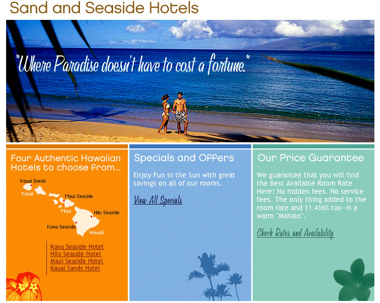 Sand and Seaside Hotels web site main page