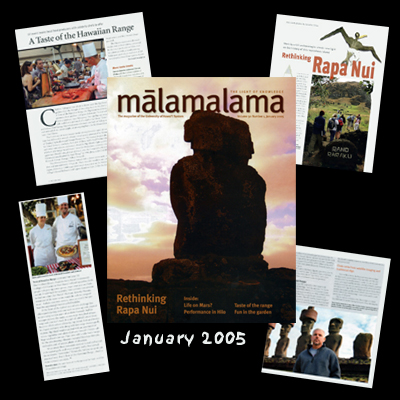 Travel assignments: University of Hawaii's Malamalama magazine, stories and photos:<br /> 1. An archaeology professor and his summer class dig for the truth about Rapa Nui (Easter Island)<br /> 2. Innovative dishes prepared with mountain oysters and other delicacies challenge top chefs at an annual food festival on the Big Island of Hawaii.