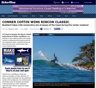 A shot of Connor Coffin published on Surfline at the Rincon Classic 2015