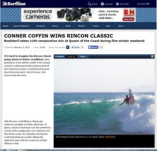 A shot of Mike McCabe published on Surfline at the Rincon Classic 2015