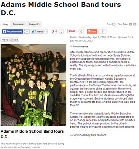 Adams Middle School Band Performs in DC