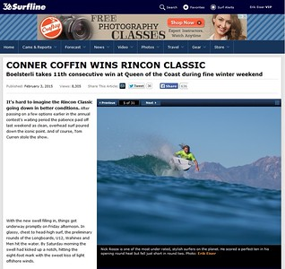 A shot of Nick Rosza published on Surfline at the Rincon Classic 2015