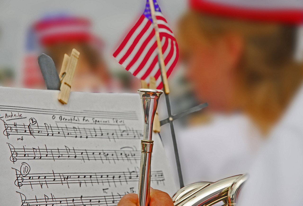 The band begins to strike up a celebratory song on the 4th of July, Oh, Beautiful is about to fill the air make the day a festive time.