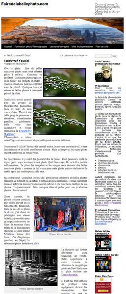 """Dans cet article paru dans son blogue Faire de la belle photo, Louis Lavoie discute de mérites de faire une sortie photo quand il pleut. Pour faire le point, il utilise une photo de Denise Sarazin prise à New York lors d'une journée très pluvieuse. Pour lire l'article en entier et voir plus de photo: <a href=""""http://fairedelabellephoto.com/2011/04/18/il-pleuvra-youpie/"""">http://fairedelabellephoto.com/2011/04/18/il-pleuvra-youpie/</a><br /> <br /> In this article in his blog Faire de la belle photo, Louis Lavoie discusses the merits of venturing out in a rainstorm. He features a photo taken by Denise Sarazin in New York City, in the middle of a severe downpour. To view the original  image: <a href=""""http://milagrophotography.smugmug.com/Other/Urban/i-kngqPb6/0/XL/167-6725_IMG-XL.jpg"""">http://milagrophotography.smugmug.com/Other/Urban/i-kngqPb6/0/XL/167-6725_IMG-XL.jpg</a>"""