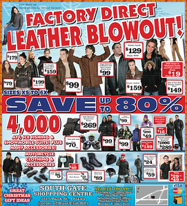 Newspaper ad for leather shop Cuir Multi in Gatineau. Photography: 4 images by Denise Sarazin (woman above header, man supporting header, man with fur hood at top, and couple bottom left). Processing and artwork: Marcel Sarazin