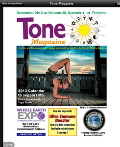 Cover of December 2012 Ottawa Tone Magazine, featuring an article on the Yoga for Multiple Sclerosis 2012 calendar, with all images by Denise Sarazin, Milagro Photography, Ottawa. The original image can be viewed here: http://milagrophotography.smugmug.com/Portraits/Yoga/i-FdxDb5V/0/L/DSC_0520%20WM-L.jpg. The original image can be viewed here: http://milagrophotography.smugmug.com/Portraits/Yoga/i-tPMx8Ts/0/XL/DSC_0973%20wordmark%20%282%29-XL.jpg