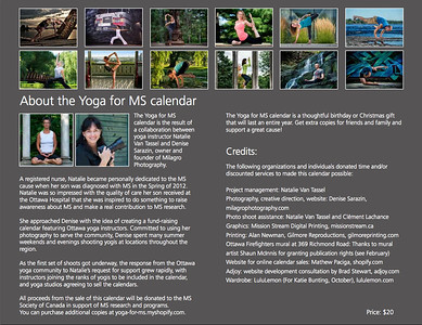 Back cover of the Yoga for Multiple Sclerosis 2013 Calendar, a fundraising project to support the Multiple Sclerosis Society of Canada. View all calendar photos, along with additional yoga photos, at http://milagrophotography.smugmug.com/photos/swfpopup.mg?AlbumID=26255400&AlbumKey=6hZwWV