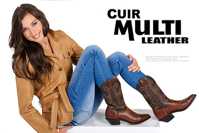 In-store poster for leather shop Cuir Multi in Gatineau. Photography: Denise Sarazin. Processing and artwork: Marcel Sarazin