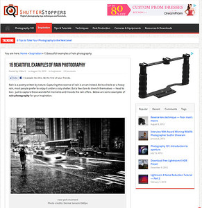 ShutterStoppers featured my New York Moment photo as one of their 15 beautiful examples of rain photography. I got totally soaked, but it was worth it. The image has been in Flickr Explore, and tweeted, pinned in Pinterest, shared by Tumblr thousands of times. I'm happy to share my work. To view the original  image: http://milagrophotography.smugmug.com/Other/Urban/i-kngqPb6/0/XL/167-6725_IMG-XL.jpg