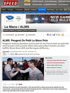Speedtv.com Sept 30 2011 Petit Le Mans Braselton Ga.